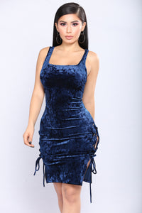 No Sleep Tonight Velvet Dress - Navy