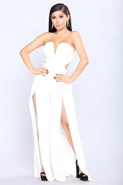 Feel It Coming Slit Jumpsuit - White