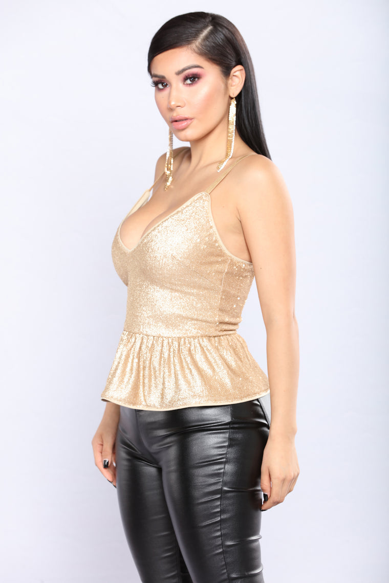 Angeline Peplum Sequin Top - Gold