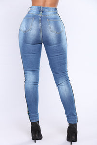 Taste The Rainbow Jeans - Medium Blue Wash