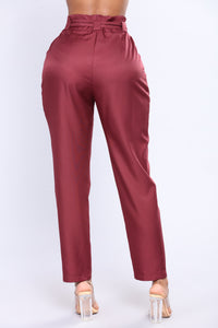 Natasha Waist Belt Pants - Wine