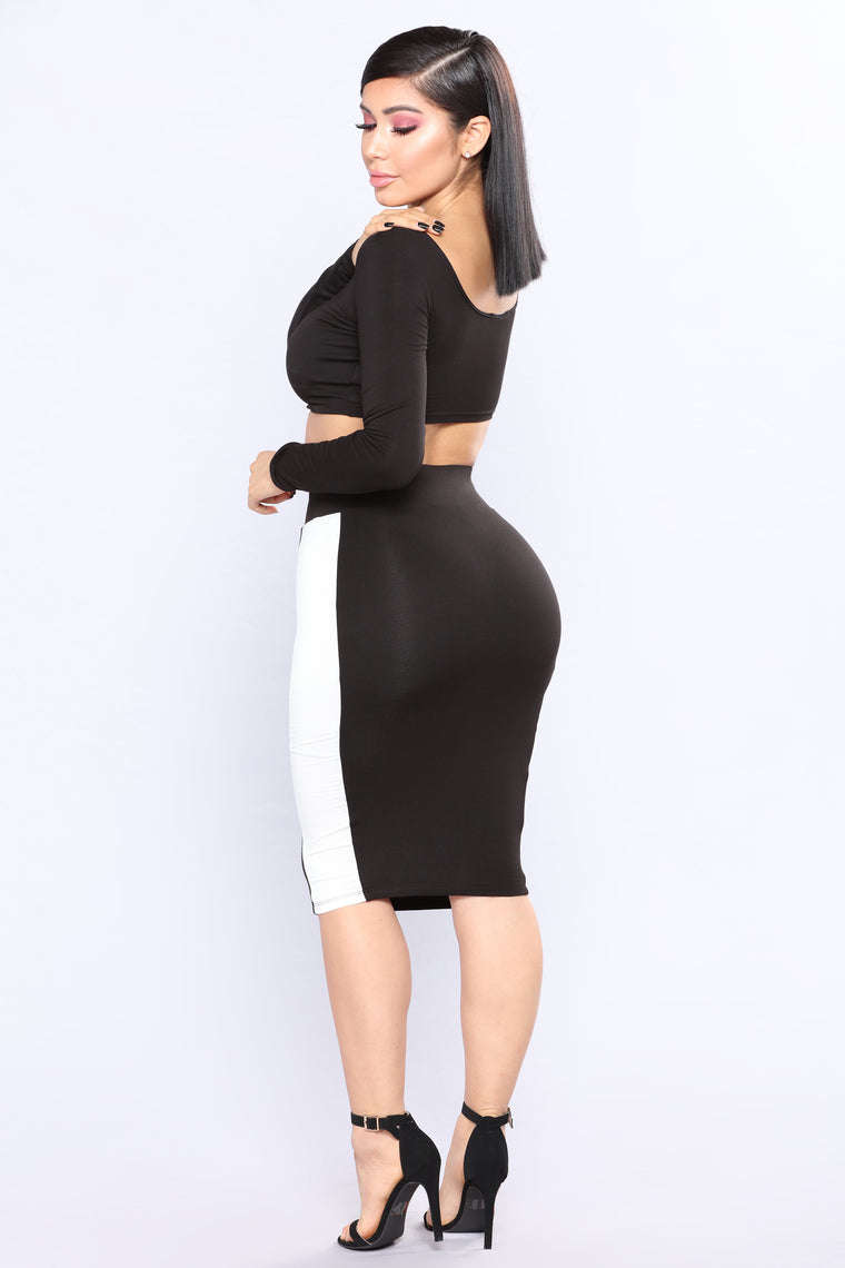 Sweet Oblivion Skirt Set - Black/White