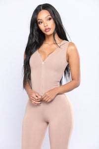 From The Hood Jumpsuit - Taupe