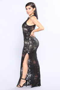 Society Sequin Dress - Black/Nude