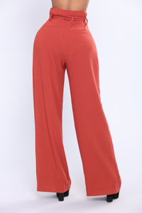 Gianna Woven Dress Pant - Rust