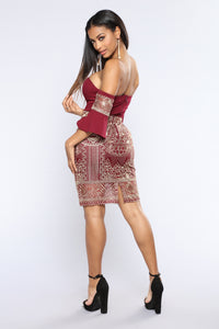 Close Encounters Embroidered Dress - Wine