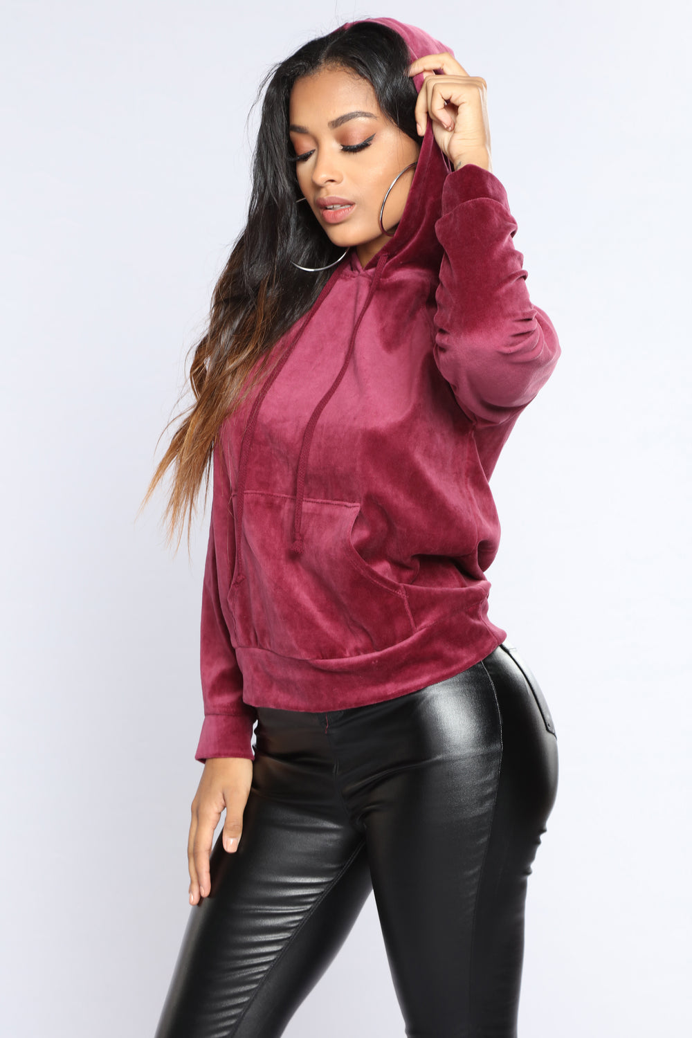 The Original Trendsetter Velour Pullover Hoodie - Burgundy