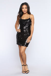 We Like To Party sequin Dress - Black