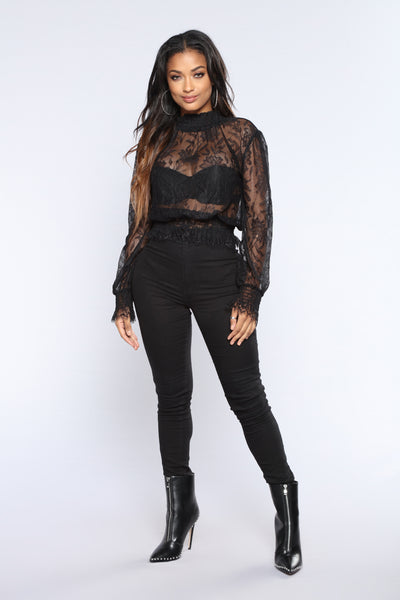 Lotus Flower Bomber Lace Top - Black
