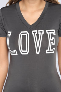 Crazy In Love Active Top - Charcoal
