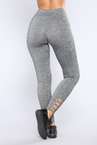 Vicky Cutout Active Leggings - Marled Charcoal
