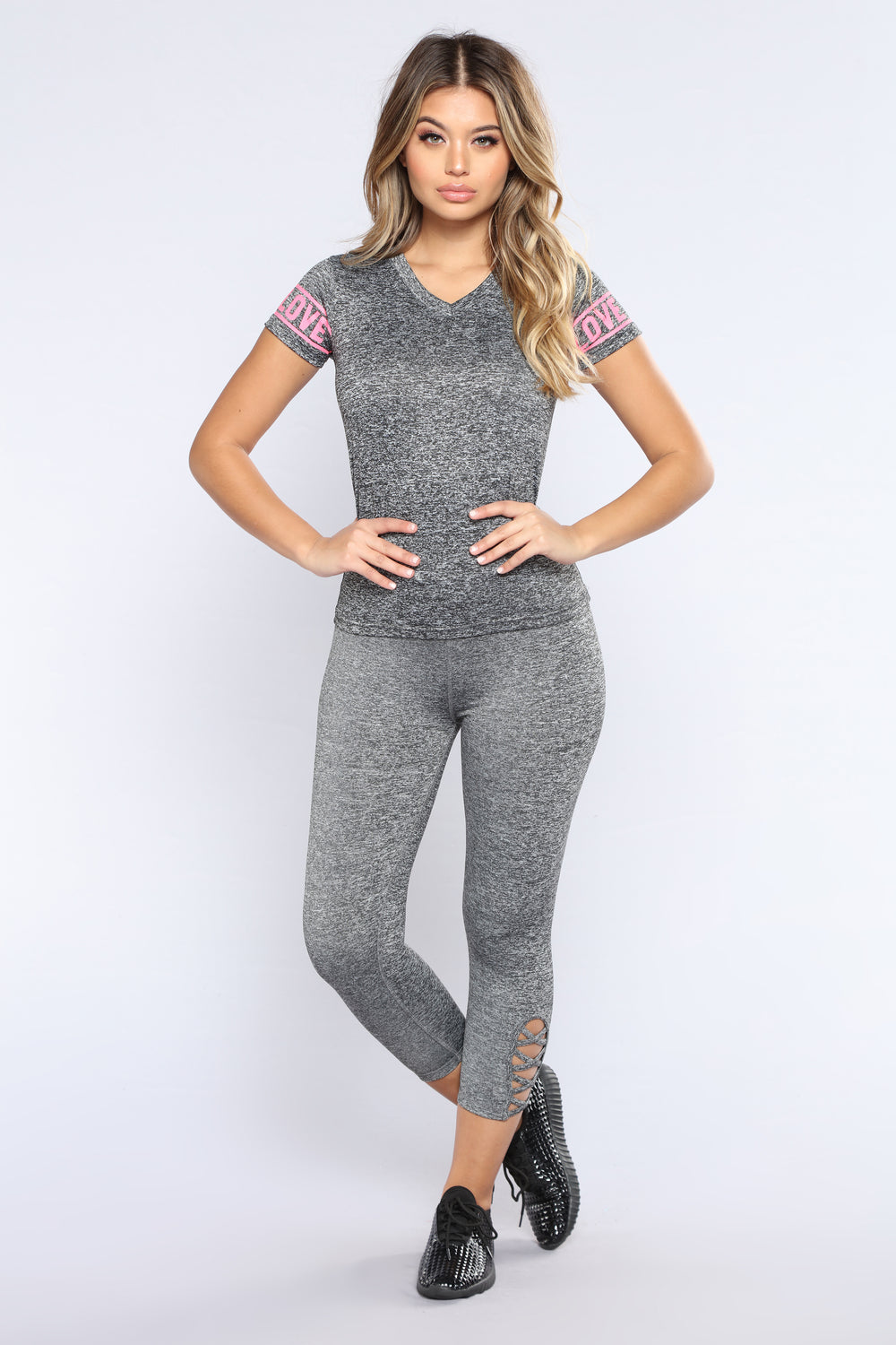 Love On The Brain Active Top - Marled Charcoal