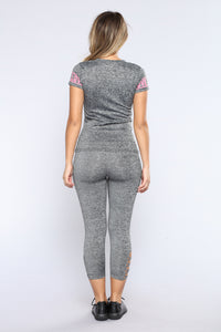 Labella Cutout Active Capri Leggings - Marled Charcoal