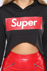 Super Babe Long Sleeve Top - Black