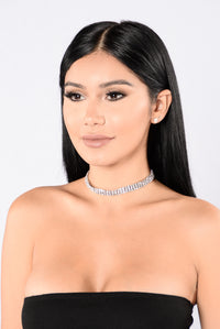 Diamond And Rust Choker - Silver
