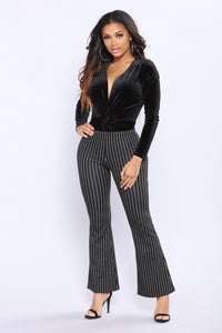 Velvet Twist Bodysuit - Black