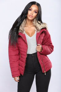 Harper Quilted Jacket - Burgundy