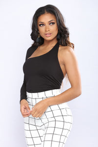 Call Me Cold One Shoulder Top - Black