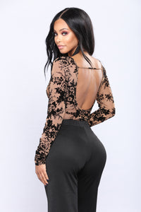Denia Burnout Velvet Bodysuit - Black/Combo