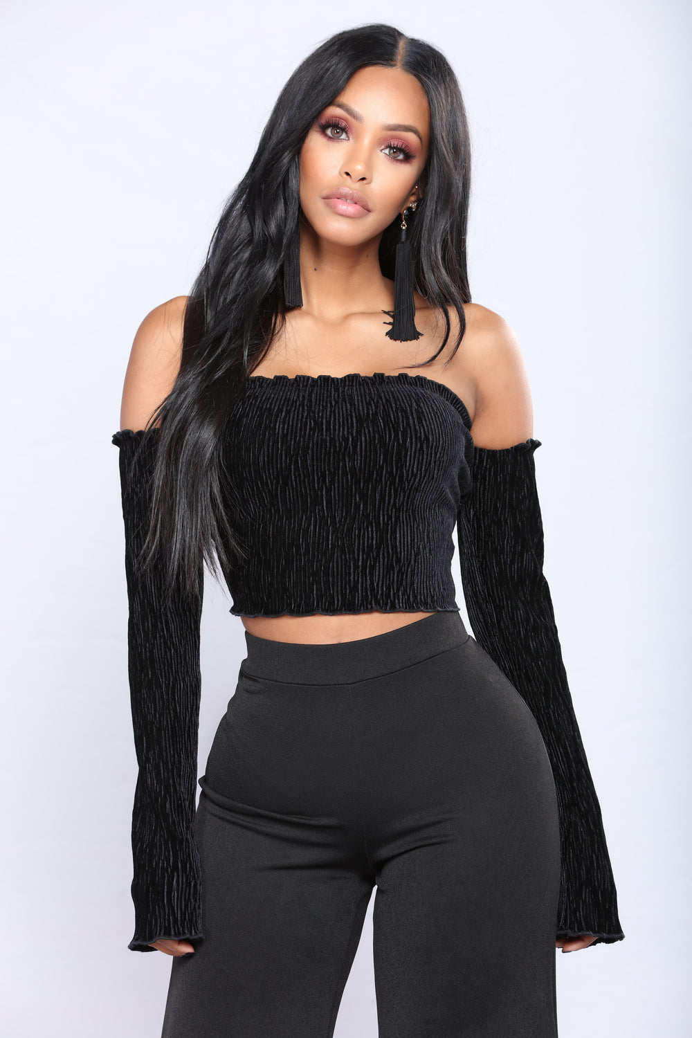 Smock Or Slay Velvet Top - Black