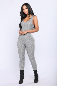 All Good Criss Cross Jumpsuit - Charcoal