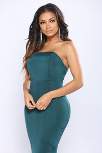 Leave You Breathless Strapless Dress - Hunter Green