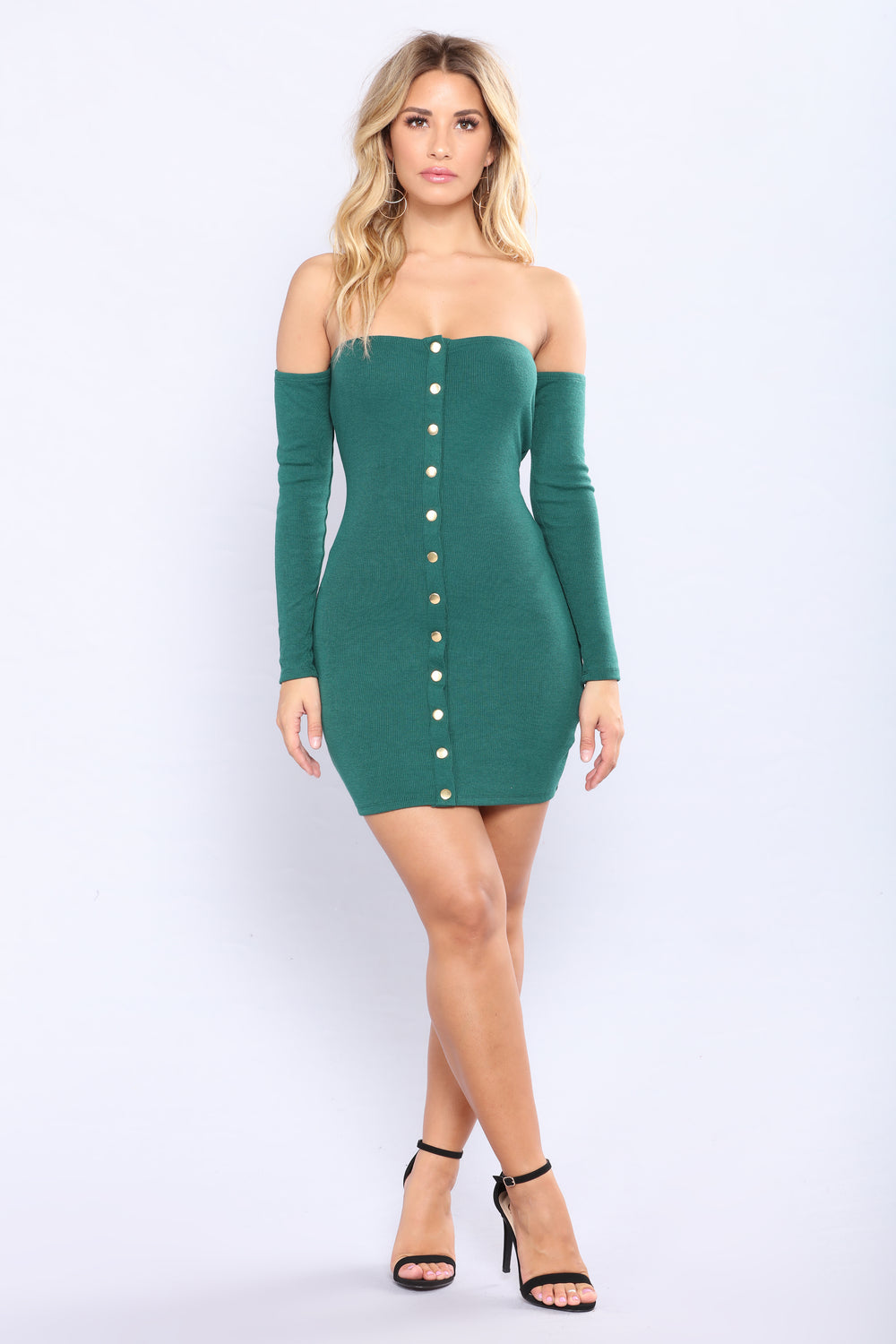 Elissa Off Shoulder Dress - Hunter Green