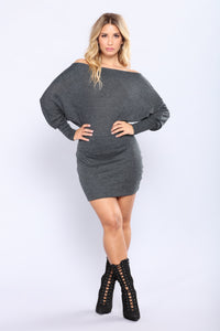 Splendid Off Shoulder Dress - Charcoal