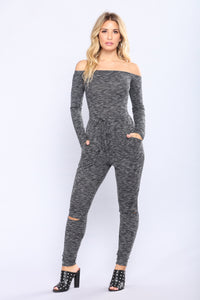 Brisk Walk Jumpsuit - Charcoal