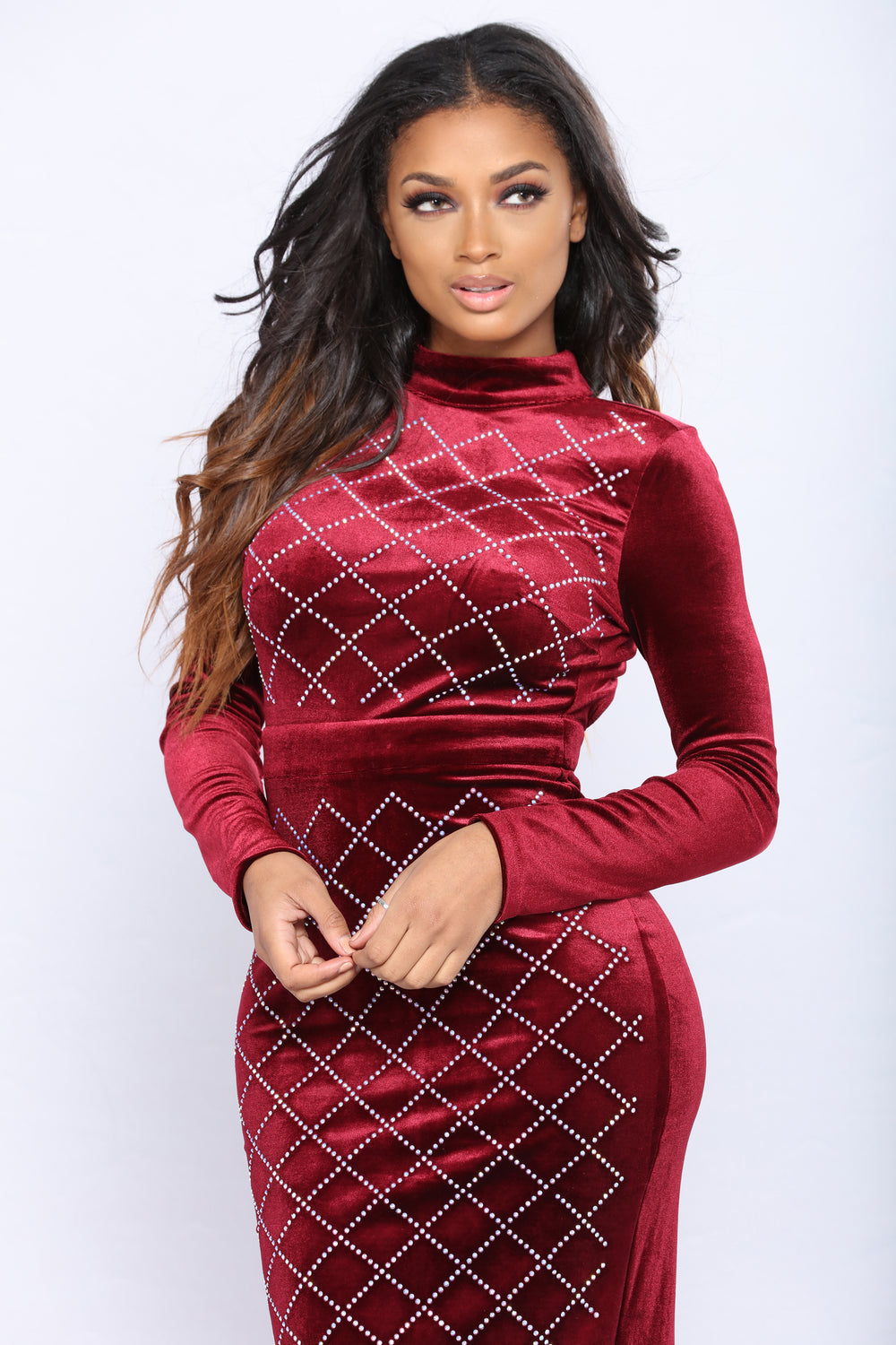 Written In The Stars Velvet Dress - Burgundy