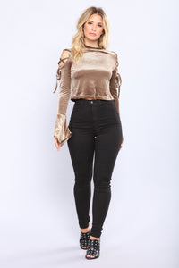 Heather Bell Sleeve Velvet Top - Brown
