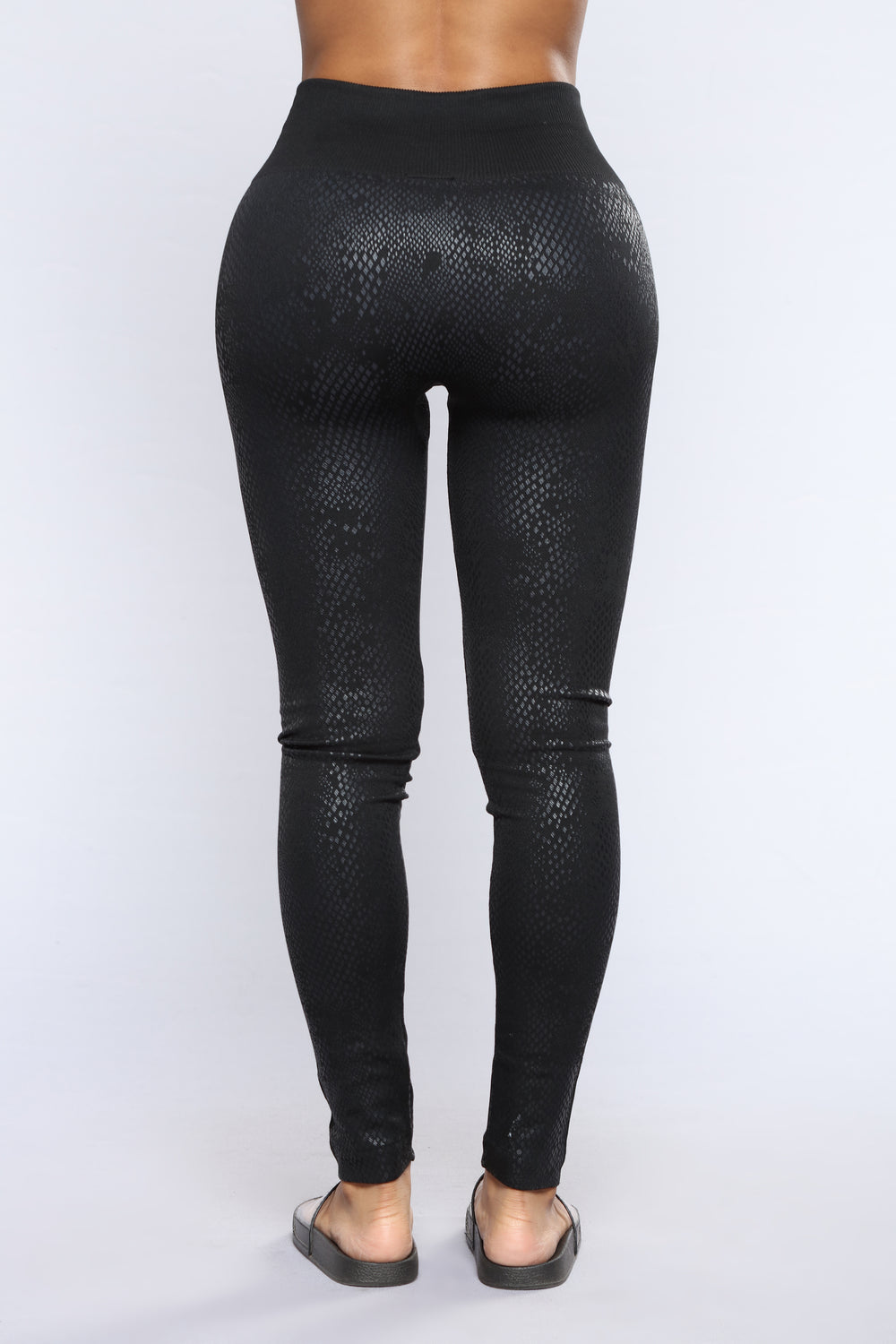Snakey Fleece Lined Leggings - Black