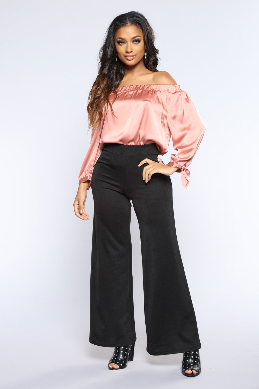 Anabella Off Shoulder Top - Dark Rose