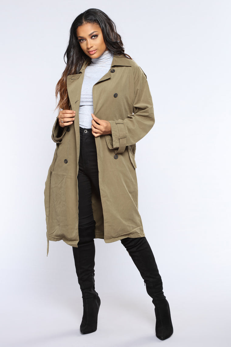 Picture Perfect Trench Coat - Olive