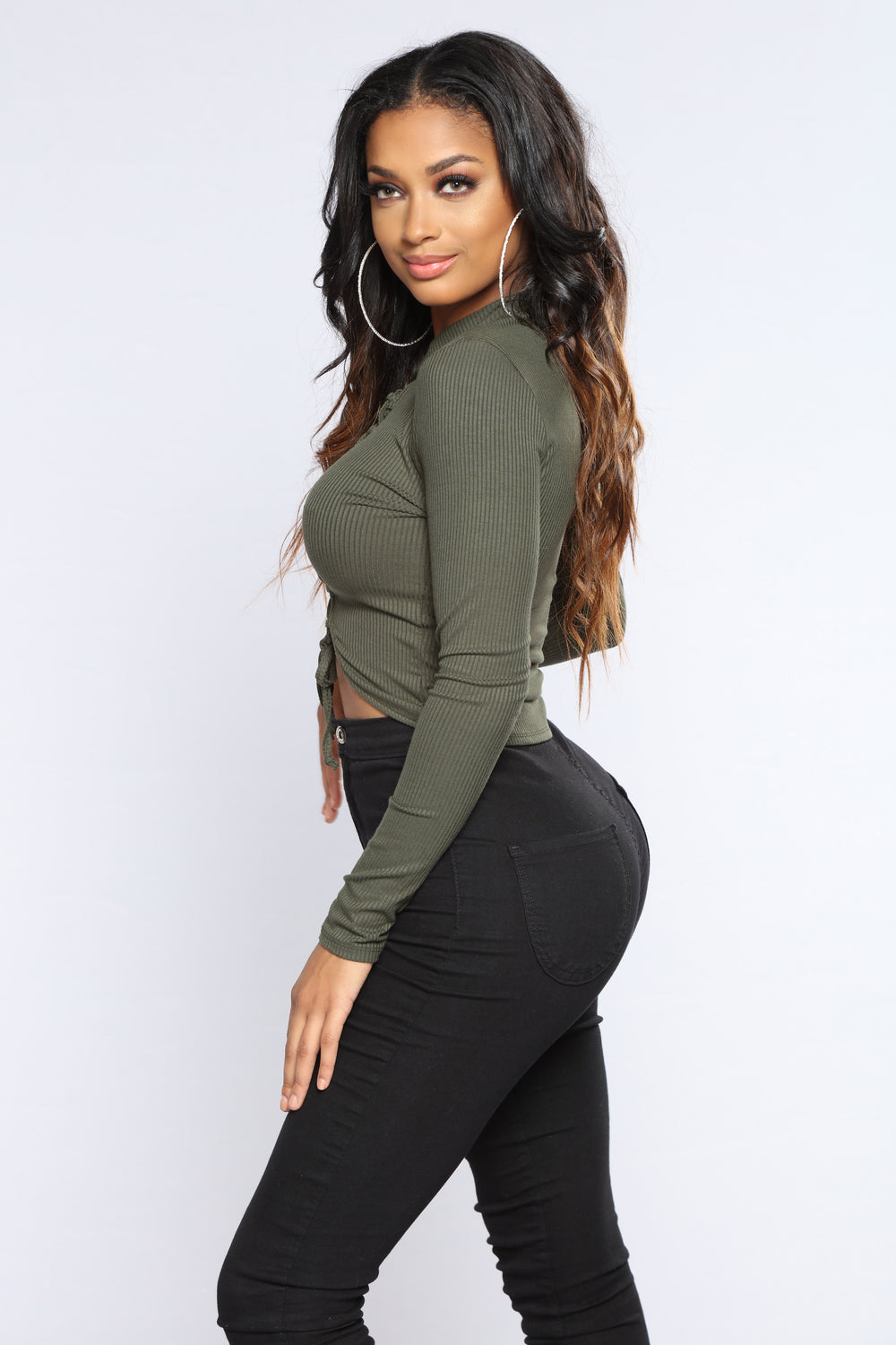 Shopping Sprees Crop Top - Olive