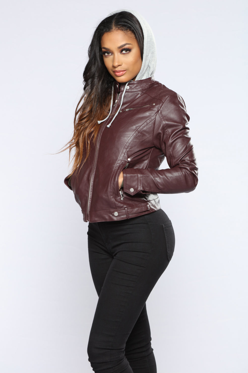 Alexa Faux Leather Jacket - Plum