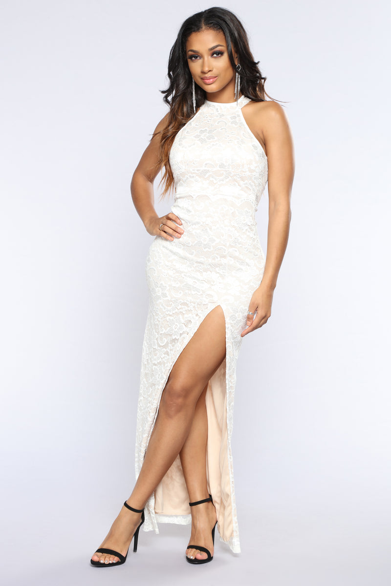 Not Today Lace Dress - Ivory/Nude