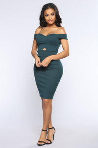 Never Crossed My Mind Dress - Hunter Green
