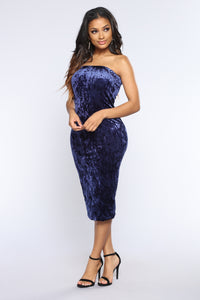 Always Around Velvet Dress - Blue