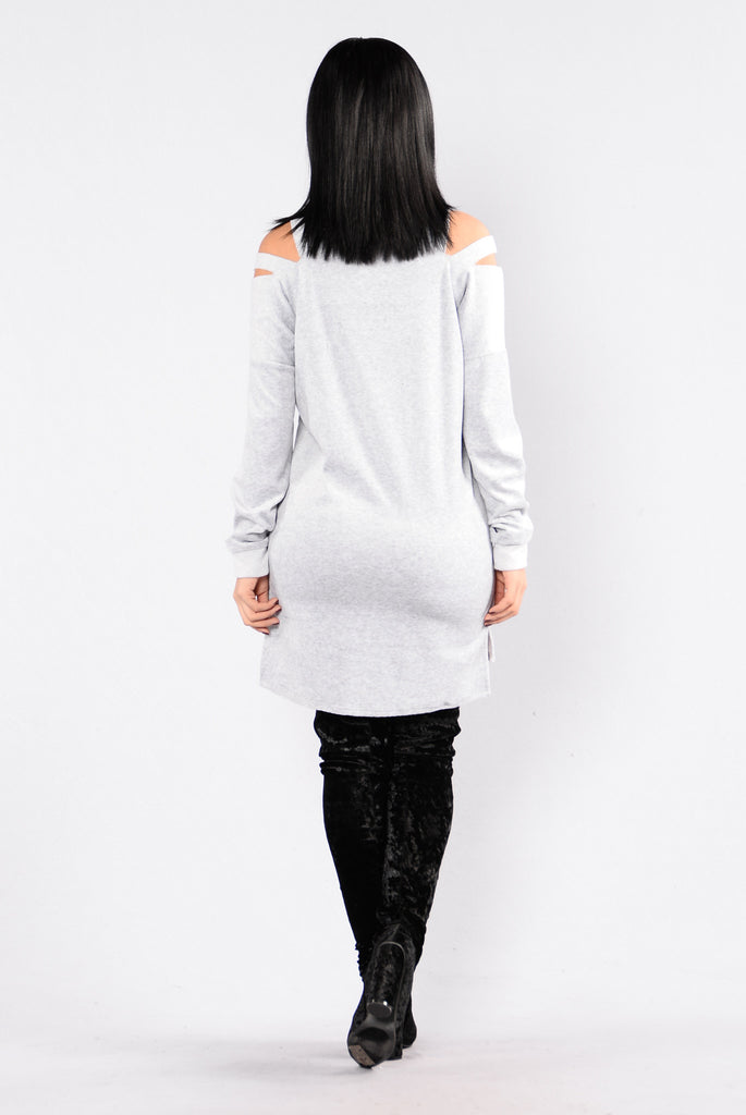 Cut It Out Sweater - Heather Grey