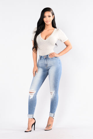 Cuff Crush Jeans - Medium Blue