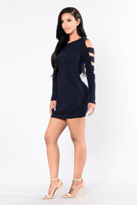 Don't Ask Sweater Dress - Navy Angle 6