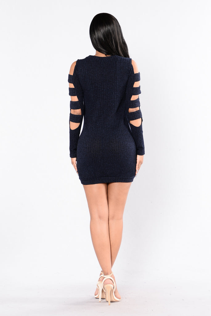 Don't Ask Sweater Dress - Navy