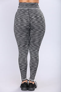 Samantha Striped Active Leggings - Black/White