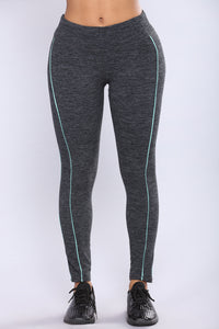 Cross Country Active Leggings - Charcoal/Blue