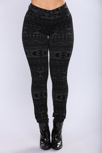 Dominique Flocked Leggings - Charcoal/Black