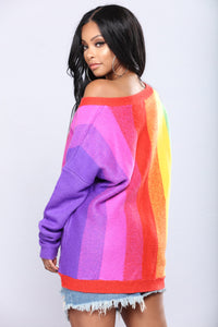 Chasing Rainbows Pullover Sweater - Multi