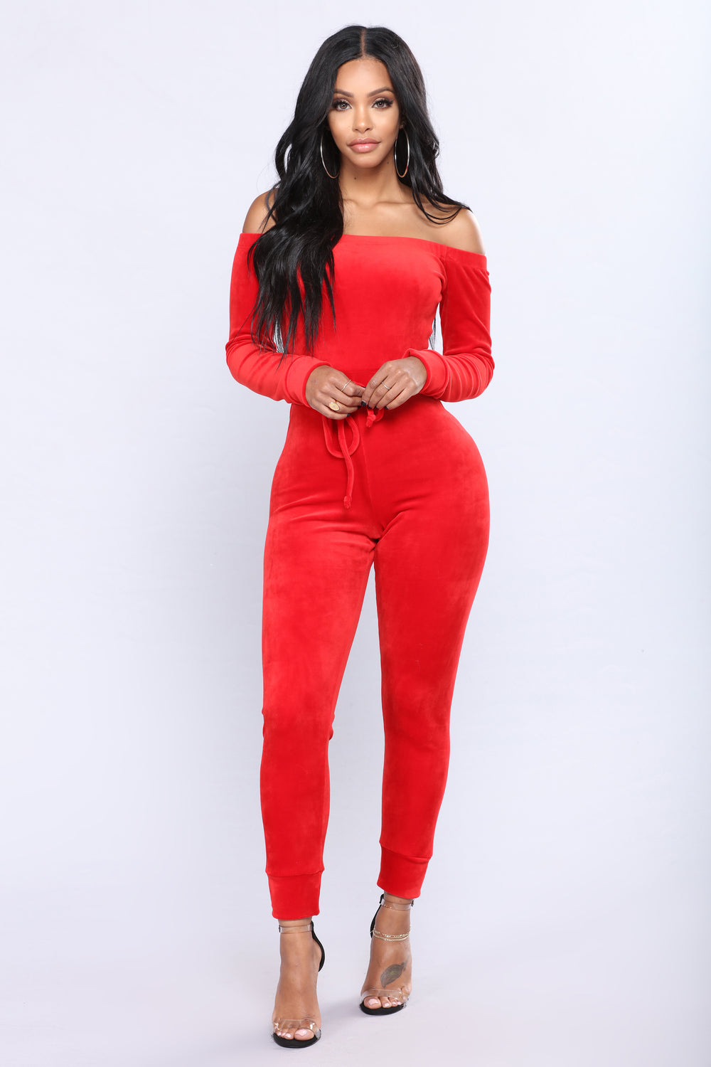 Need A Hug Velour Jumpsuit - Red