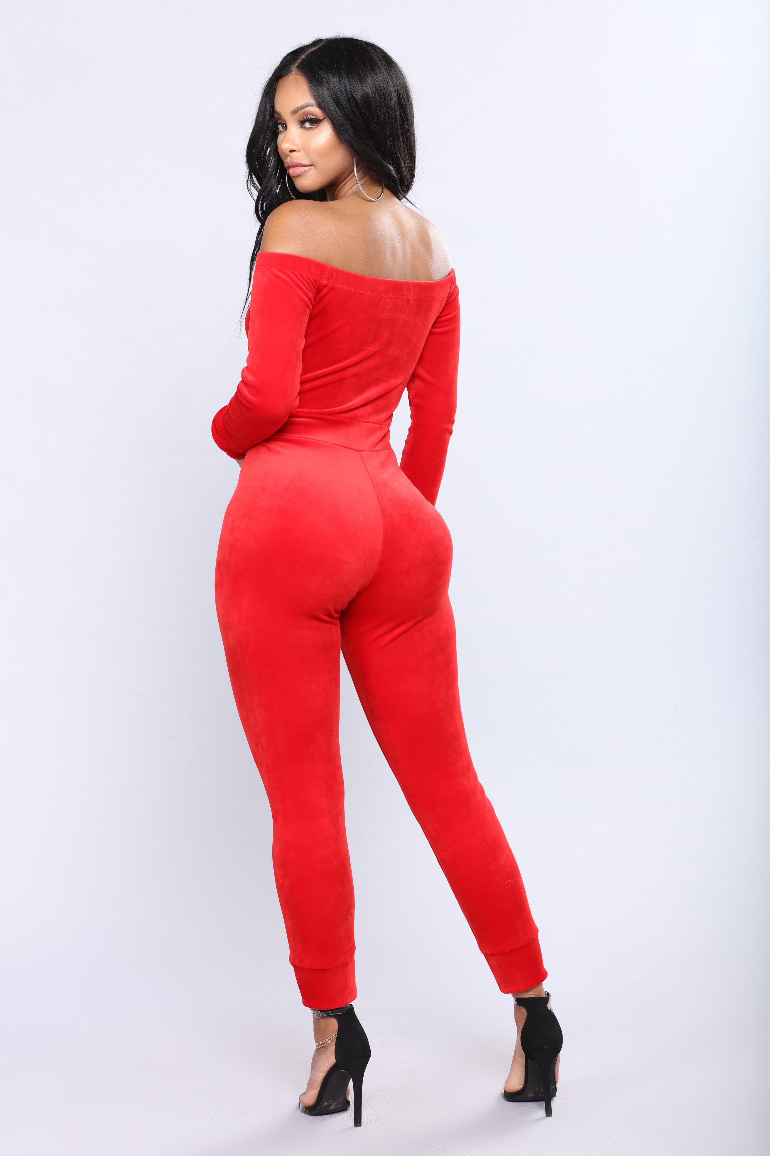 44cbeed3df84 Need A Hug Velour Jumpsuit - Red