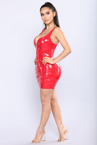 Favorite Night Latex Dress - Red